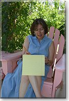 Laurie Schnebly Campbell writing on a legal pad